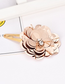 Fashion Gold Alloy Sequin Flower Hair Clip