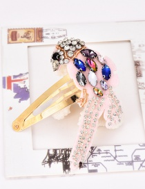 Fashion Color Alloy Felt Cloth Rhinestone Bird Hair Clip