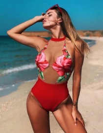 Fashion Red Mesh Splicing One-piece Swimsuit