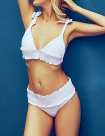 Fashion White Solid Color Split Swimsuit