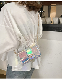 Fashion Silver Rhombus Transparent Crossbody Bag