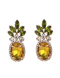 Fashion Gold Alloy Studded Pineapple Earrings