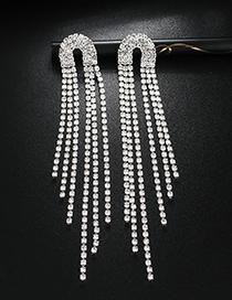 Fashion Silver Diamond Tassel Multi-row Earrings