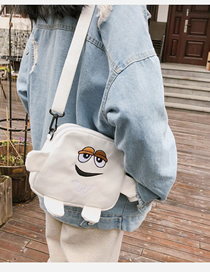 Fashion White Embroidered Cartoon Shoulder Crossbody Bag