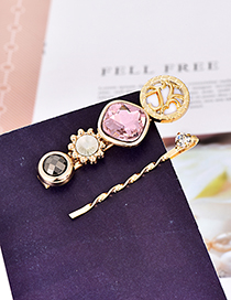 Fashion Pink Alloy Drill Hair Clip Set