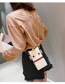 Fashion White Contrast Cartoon Robot Rivet Crossbody Bag