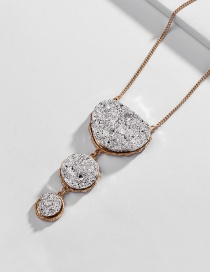 Fashion Ancient Gold Resin Crystal Silver Plated Alloy Necklace