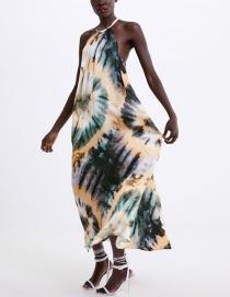 Fashion Color Tie-dye Hanging Neck Lace Dress