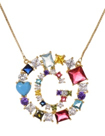 Fashion Gold Copper Inlaid Zircon Letter G Necklace
