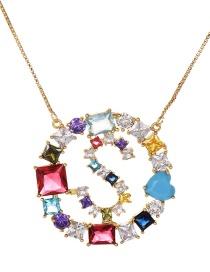 Fashion Gold Copper Inlaid Zircon Letter S Necklace