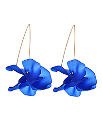 Fashion Dark Blue Alloy Resin Flower Earrings