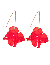 Fashion Red Wine Alloy Resin Flower Earrings