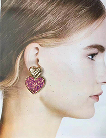 Fashion Sequin Red Alloy Double Layer Love Earrings