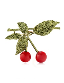 Fashion Color Alloy Dripping Cherry Brooch