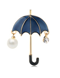 Fashion Navy Alloy Drop Oil Pearl Umbrella Brooch
