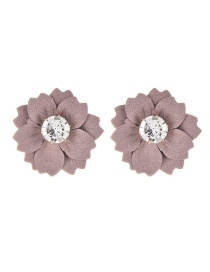 Fashion Purple Gray Cloth And Diamond Flower Earrings