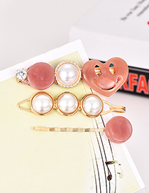 Fashion Pink Alloy Pearl Love Hair Clip