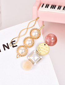 Fashion Gold Alloy Pearl Resin Hairpin