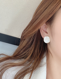 Fashion White S925 Silver Needle Geometric Painting Oil Earrings