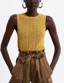 Fashion Yellow Textured Knit Vest