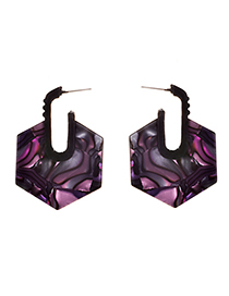 Fashion Purple Alloy Resin Hexagonal Earrings