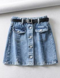 Fashion Blue Washed High Waist Single-breasted Skirt With Belt