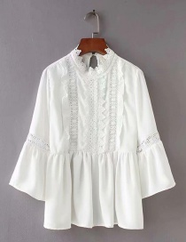 Fashion White Crocheted Lace Side Trumpet Sleeve Shirt