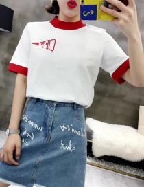 Fashion Red Round Neck Letter T-shirt