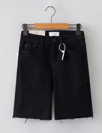 Fashion Black Washed Side Cut Denim Pants