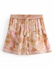 Fashion Pink Jungle Printed Lace Elastic Waist Shorts