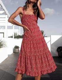 Fashion Red Flower Print Sling Pleated Dress