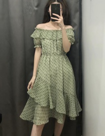 Fashion Green One-necked Flower Print Ruffled Dress