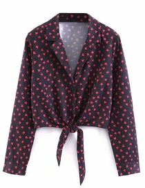 Fashion Black Heart Button Front Knotted Shirt