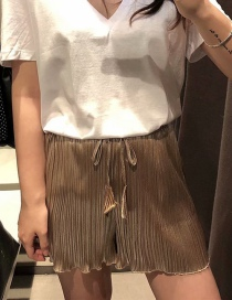 Fashion Gold Wooden Ear Pleated Lace Shorts