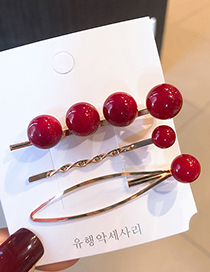 Fashion A Red Pearl Hairpin Three-piece