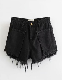 Fashion Black Washed Pocket Valgus Denim A Word Raw Shorts