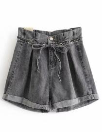 Fashion Black Ash Washed Lace-up String High Waist Wide Leg Denim Shorts