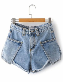 Fashion Blue Washed Raw Trimmed Denim Shorts