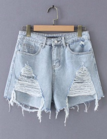 Fashion Blue Washed Hole High Waist Denim Shorts