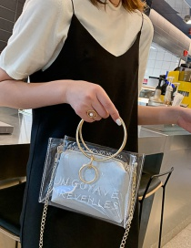 Fashion Silver Transparent Letter Chain Single Shoulder Messenger Bag