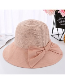 Fashion Pink Splicing Grass Top Fisherman Hat