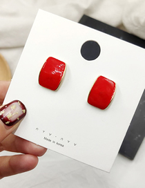 Fashion Red Square Ear Stud Earrings