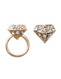 Fashion Gold 925 Silver Needle Asymmetric Zircon Circle Stud Earrings