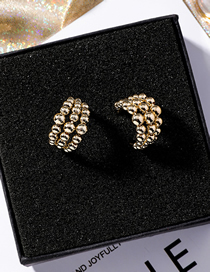 Fashion Gold Copper Beads S925 Silver Needle C-shaped Earrings