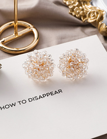Fashion Crystal Model 925 Silver Needle Hemispherical Transparent Pearl Crystal Stud Earrings