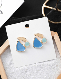 Fashion Blue 925 Silver Needle Glazed Contrast Stitching Irregular Earrings