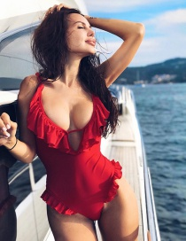 Fashion Red Ruffled Backless One-piece Swimsuit