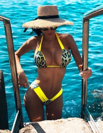 Fashion Yellow Leopard Print Split Swimsuit