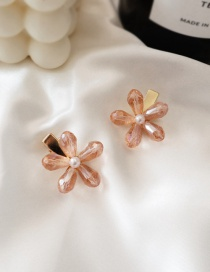 Fashion Pink/single Crystal Flower Hair Clip