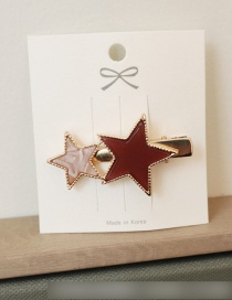 Fashion Duckbill Clip - Two Star Red Contrast Hair Clip